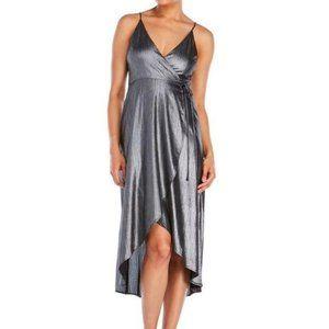 Lush Metallic Silver Wrap Dress Midi Size Large